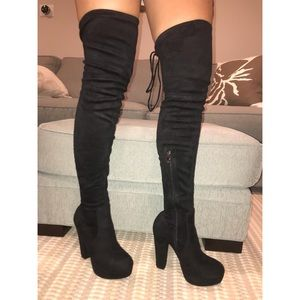 Brand new over the knee faux suede heeled boots